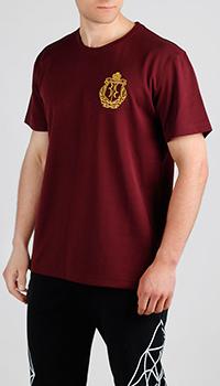 Бордовая футболка Billionaire с вышивкой, фото