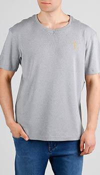 Футболка серого цвета Billionaire с вышивкой-лого, фото