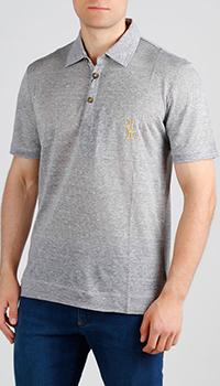 Серая футболка-поло Billionaire из льна, фото