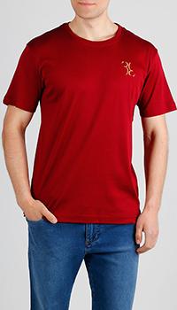 Хлопковая футболка Billionaire бордового цвета, фото