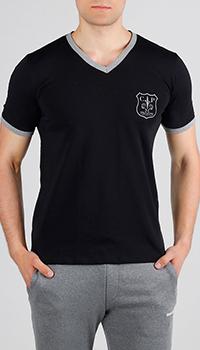 Черная футболка Cesare Paciotti с окантовкой, фото