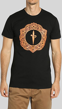 Черная футболка Cesare Paciotti с принтом-меч, фото