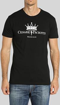 Черная футболка Cesare Paciotti с принтом-корона, фото