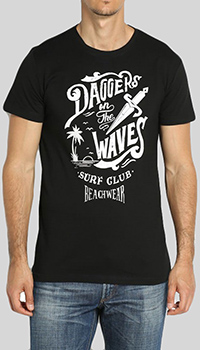 Черная футболка Cesare Paciotti Daggers on the waves, фото