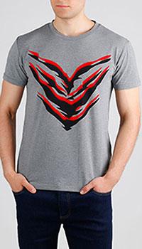 Серая футболка Roberto Cavalli с цветным принтом, фото