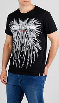 Черная футболка Roberto Cavalli с крупным принтом, фото