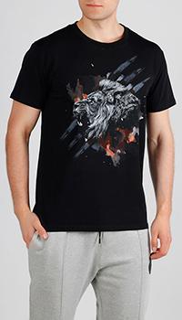 Черная футболка Roberto Cavalli со львом, фото