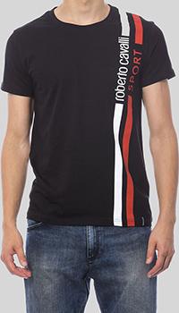 Черная футболка Roberto Cavalli с полосами, фото