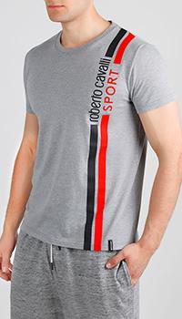 Серая футболка Roberto Cavalli с двумя полосами, фото
