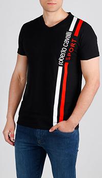 Черная футболка Roberto Cavalli с принтом-полосами, фото