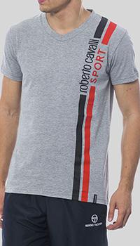 Серая футболка Roberto Cavalli с V-образном вырезом, фото