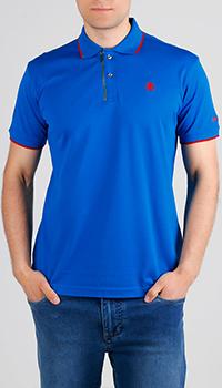 Синяя футболка-поло Roberto Cavalli с лого, фото