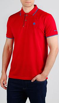 Красное поло Roberto Cavalli с синей окантовкой, фото