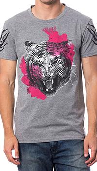 Серая футболка Roberto Cavalli с рисунком тигра, фото