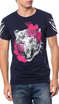 Мужская футболка Roberto Cavalli синего цвета, фото