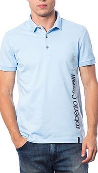 Голубое поло Roberto Cavalli с принтом на спине, фото