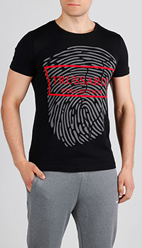 Черная футболка Trussardi Jeans с отпечатком, фото