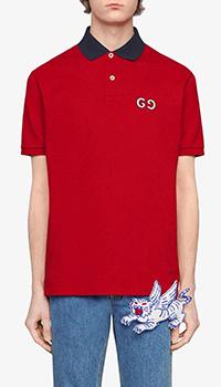 Красное поло Gucci с вышитым лого, фото