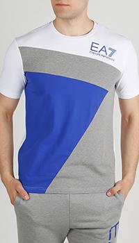 Белая футболка Ea7 Emporio Armani с серо-синей вставкой, фото