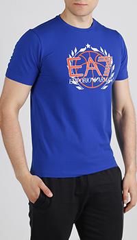 Хлопковая футболка Ea7 Emporio Armani синего цвета, фото