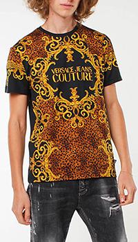 Футболка Versace Jeans Couture с леопардовым принтом, фото