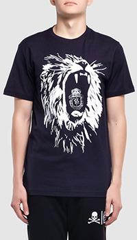 Темно-синяя футболка Billionaire Lion с изображением льва, фото