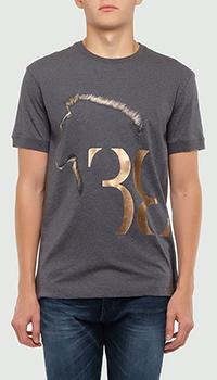 Серая футболка Billionaire с изображением льва, фото