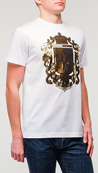 Белая футболка Billionaire с золотистым принтом, фото