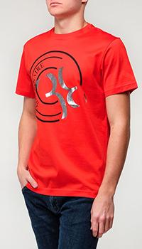 Красная футболка Billionaire с логотипом, фото