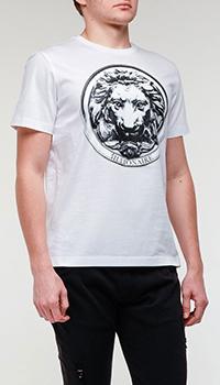 Белая футболка Billionaire с изображением льва, фото