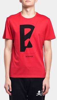 Футболка красная Bogner Roc из хлопка, фото