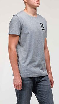 Серая футболка Bogner с логотипом на груди, фото