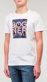 Белая футболка Bogner с надписью, фото