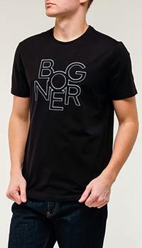 Черная футболка Bogner с принтом, фото