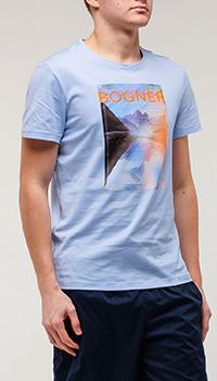 Голубая футболка Bogner с принтом, фото