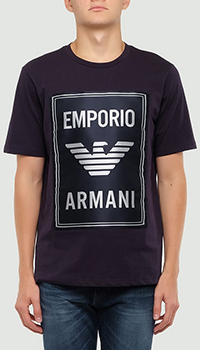 Синяя футболка Emporio Armani с нашивкой, фото