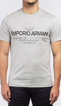 Серая футболка Emporio Armani из хлопка, фото