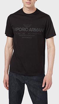 Черная футболка Emporio Armani с принтом-логотипом, фото