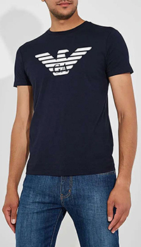 Синяя футболка Emporio Armani с брендовым принтом, фото