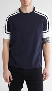 Синяя футболка Emporio Armani с белыми элементами, фото