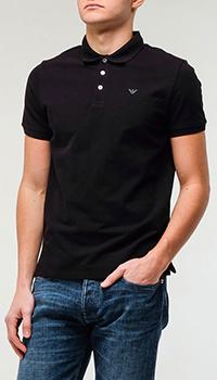 Поло Emporio Armani черного цвета, фото