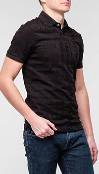 Поло Emporio Armani черное с принтом, фото