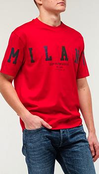 Красная футболка Emporio Armani с принтом, фото