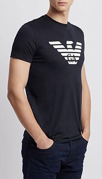 Синяя футболка Emporio Armani с брендовым логотипом, фото