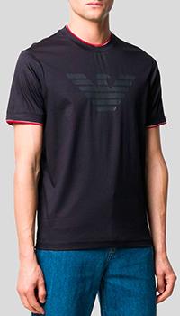 Черная футболка Emporio Armani с брендовым принтом, фото