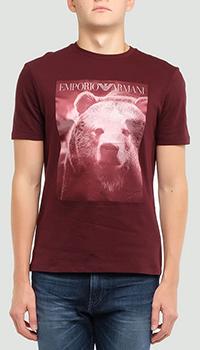 Бордовая футболка Emporio Armani с медведем, фото