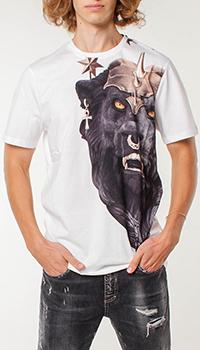 Белая футболка Frankie Morello с принтом черного льва, фото