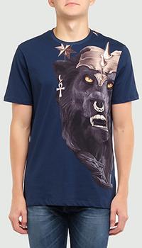 Синяя футболка Frankie Morello с принтом-волком, фото