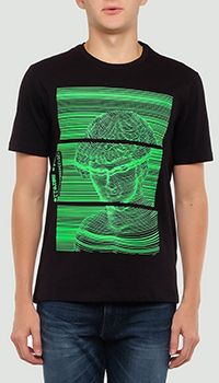 Черная футболка Frankie Morello с ярким принтом, фото