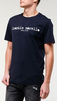 Темно-синяя футболка Frankie Morello с логотипом, фото